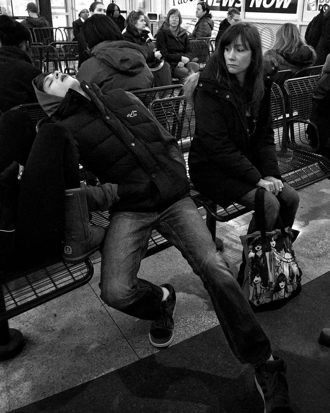 Gotta admire someone who can fall asleep in a public place - Streetphotography Street Photography Street Streetphoto_bw Streetphoto Street Life Streetphotography_bw Bkackandwhite Blackandwhite Black And White Black & White Blackandwhite Photography Black&white Black And White Photography Blackandwhitephotography Black And White Collection  Black And White Portrait