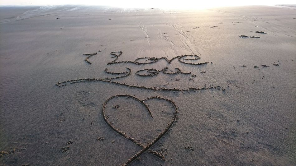 Message to my wife Beach Love Sand Heart Shape Drawn No People Nature Beauty In Nature Walk On The Beach  Tranquility Seascape Photography