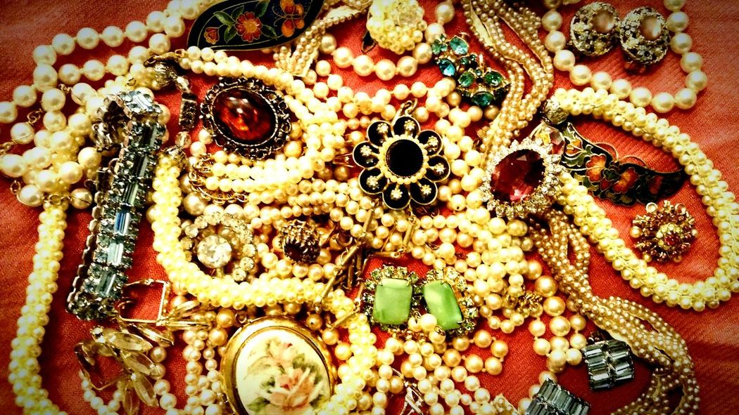 My grandmother's jewelry. She was amazing. A teacher, a private investigator, a professional clown, an actress, a ballroom dance instructor, and much more. Things I Like Vintage Antique Jewelry Heirloom Heirlooms Pearls Pink Showcase April Telling Stories Differently