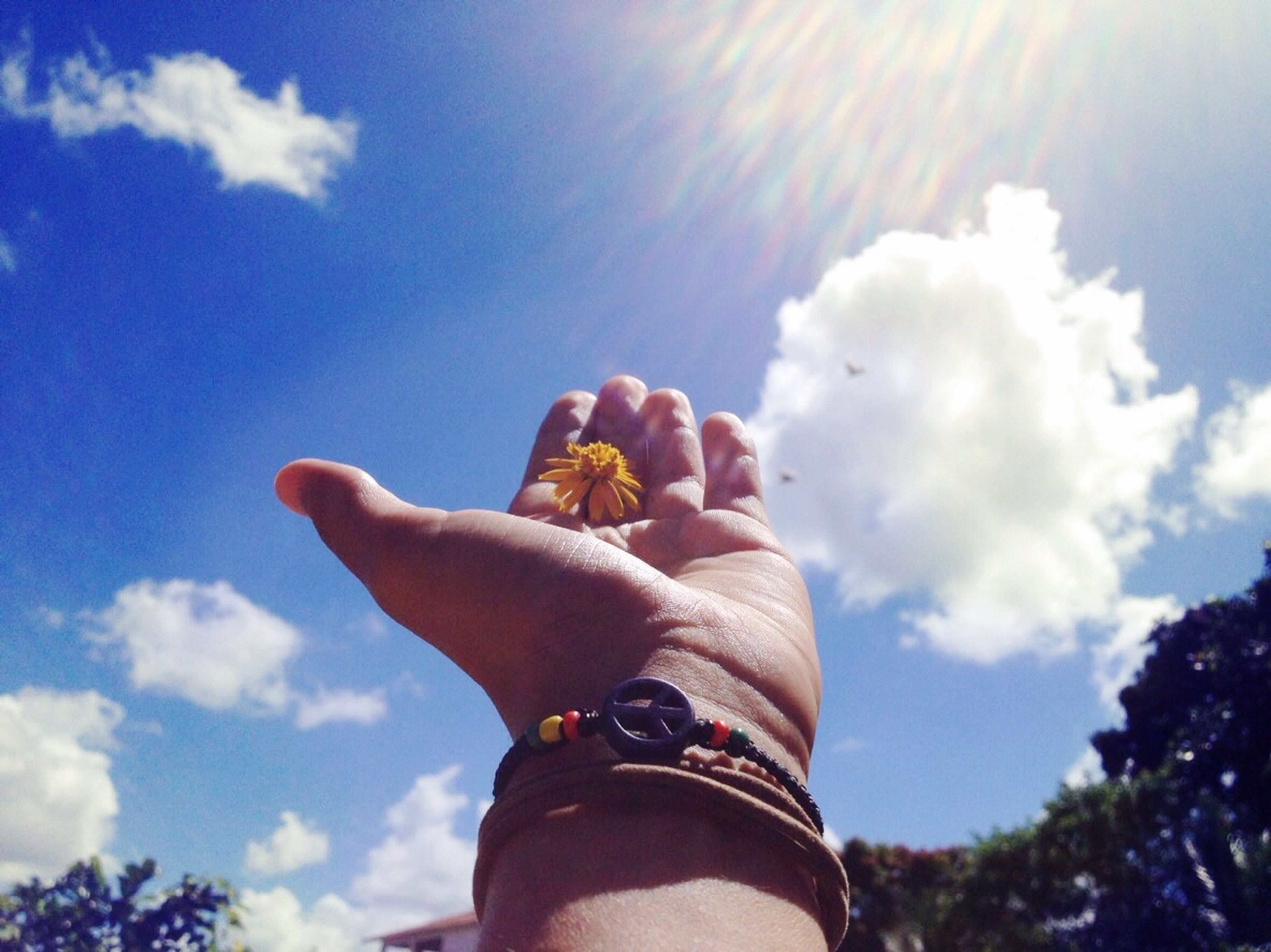 person, holding, personal perspective, part of, human finger, sky, cropped, lifestyles, leisure activity, unrecognizable person, cloud - sky, low angle view, sunlight, sun, cloud, sunbeam, lens flare