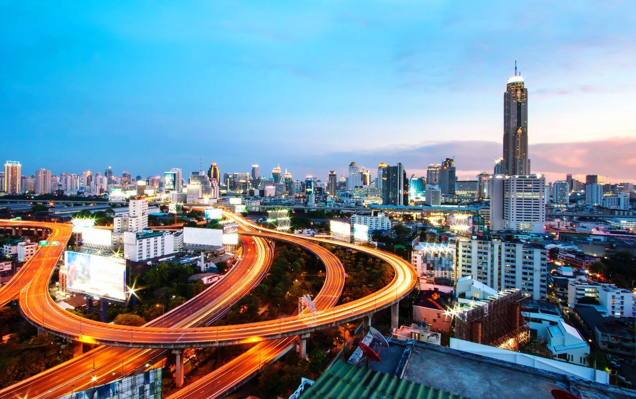 Transportation City Traffic Architecture Speed Cityscape Building Exterior Highway High Angle View Light Trail Mode Of Transport Built Structure Urban Skyline City Life City Street Road Development Sky Tower Motion Bangkok Bangkok Thailand. Thailand Thai City