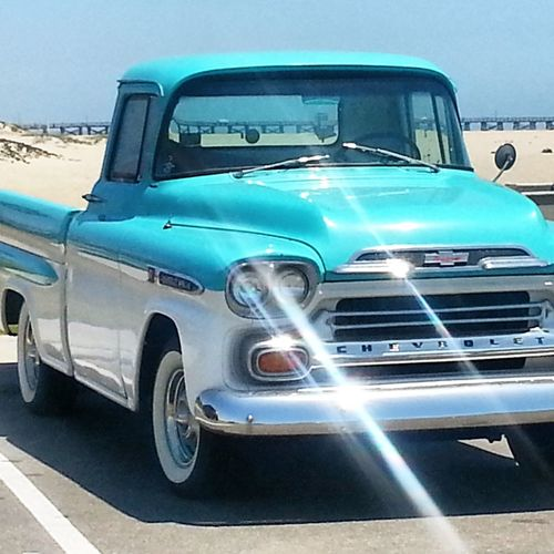 Land Vehicle Mode Of Transport Transportation Car Road Street Sunlight Old-fashioned Shadow Stationary Sunny Day Tail Light Outdoors Motor Vehicle Cloud - Sky Classic Car Classic Cars Turquoise Colored Chevy Truck Chevrolet