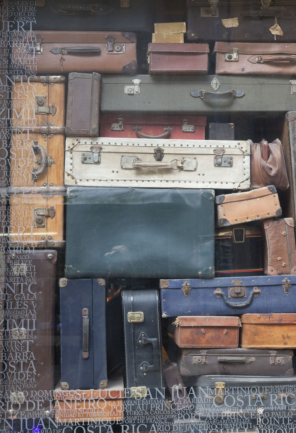 Old Suitcases in window display - Saint Malo, Brittany, France Ancient Arrangement Backgrounds Beauty Of Decay Business Close-up Damaged Journey Leather Luggage No People Nostalgia Old Old-fashioned Old-fashioned Pattern Retro Still Life Suitcase Suitcases Tourism Travel Travel Destinations Vacations Vintage