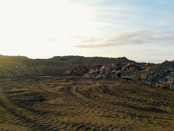 Landscape No People Desert Outdoors Nature Sky Arid Climate Day Mountain Beauty In Nature Scenics Sand Dune Landscapes Landscapes With WhiteWall Calderdale Yorkshire Rock Quarry Textures And Surfaces Countryside Mud Tyre Tracks Mars Life On Mars The Great Outdoors - 2017 EyeEm Awards