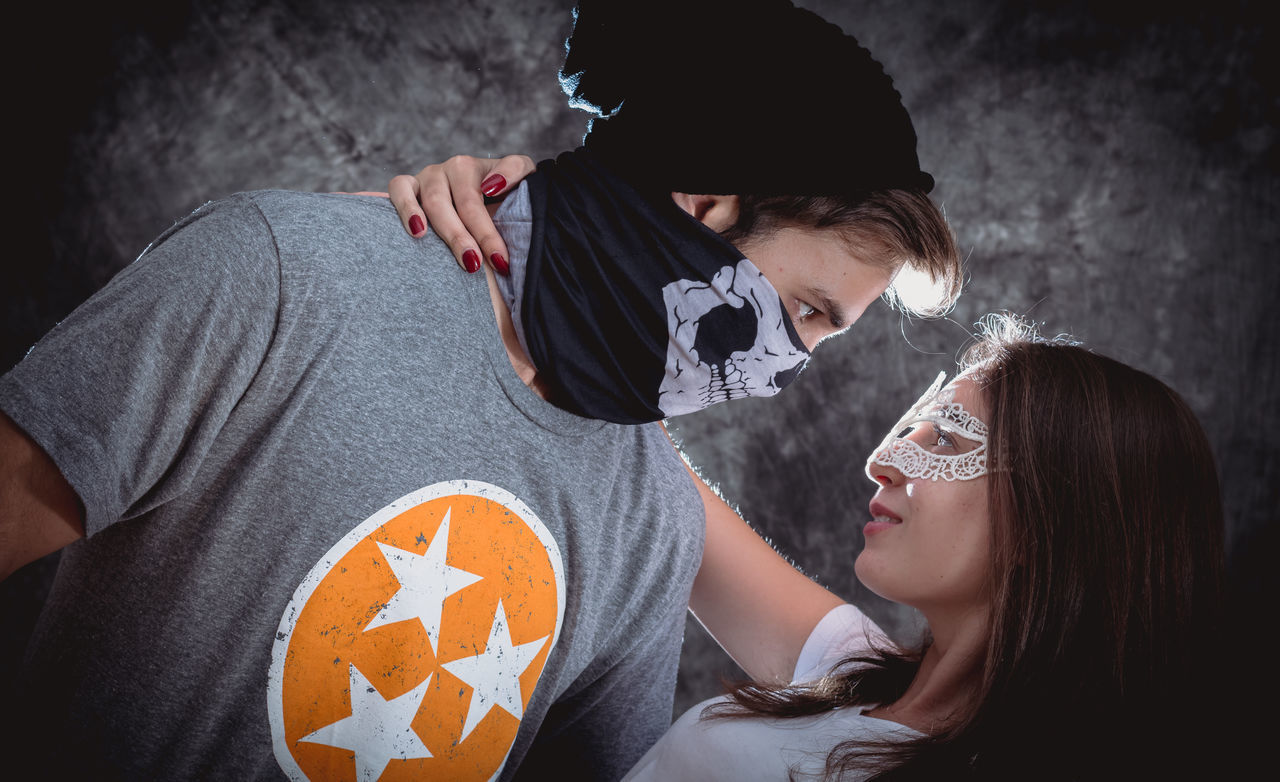 Adult Bad Boy  Couple Day Embrace Eyes Are Soul Reflection Fantasy Love Magical Passion People Role Play Romance Sweep Togetherness Two People Young Adult
