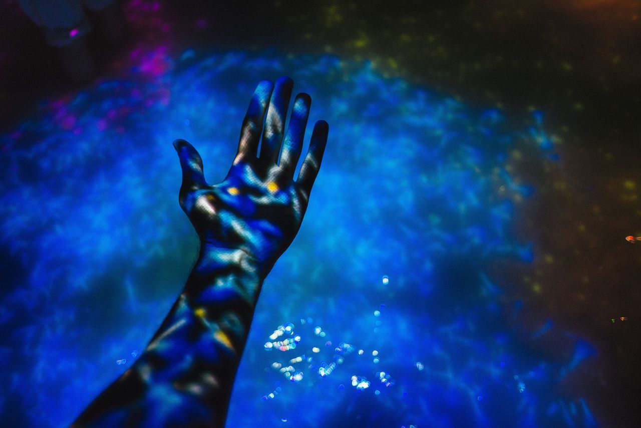 Transform yourself Blue Person Water lLimbUnrecognizable Person Lifestyles Projection Art Focus On Foreground Arm Selective Focus