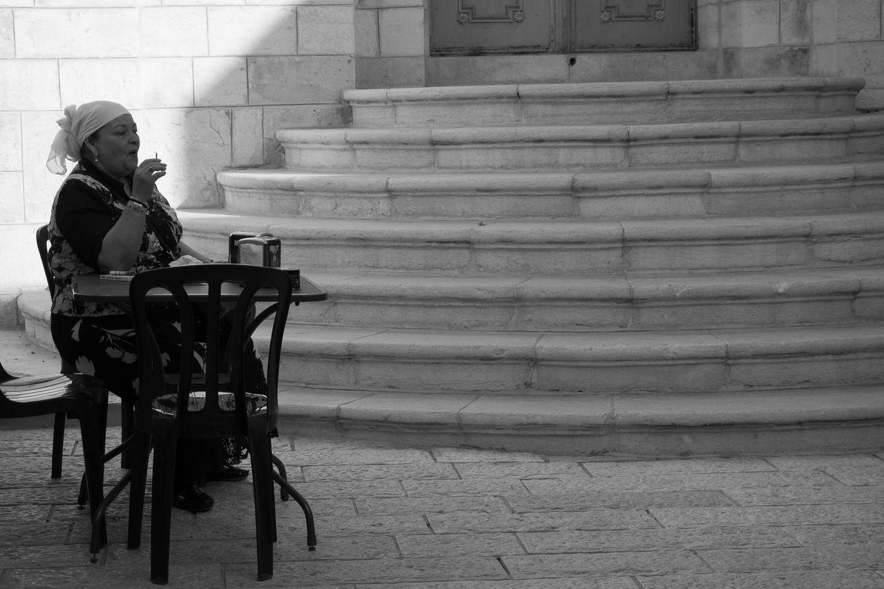 Blackandwhite Blackandwhite Photography Break Cigarette  Cigarette Break Cigarette Time Jerusalem One Person Real People Women