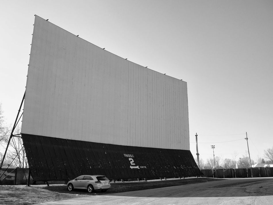Architecture B&w Black And White Building Exterior Built Structure Car Cinema In Your Life Clear Sky Day Drive-in Theater MOVIE No People Outdoors Photography Screen Sky