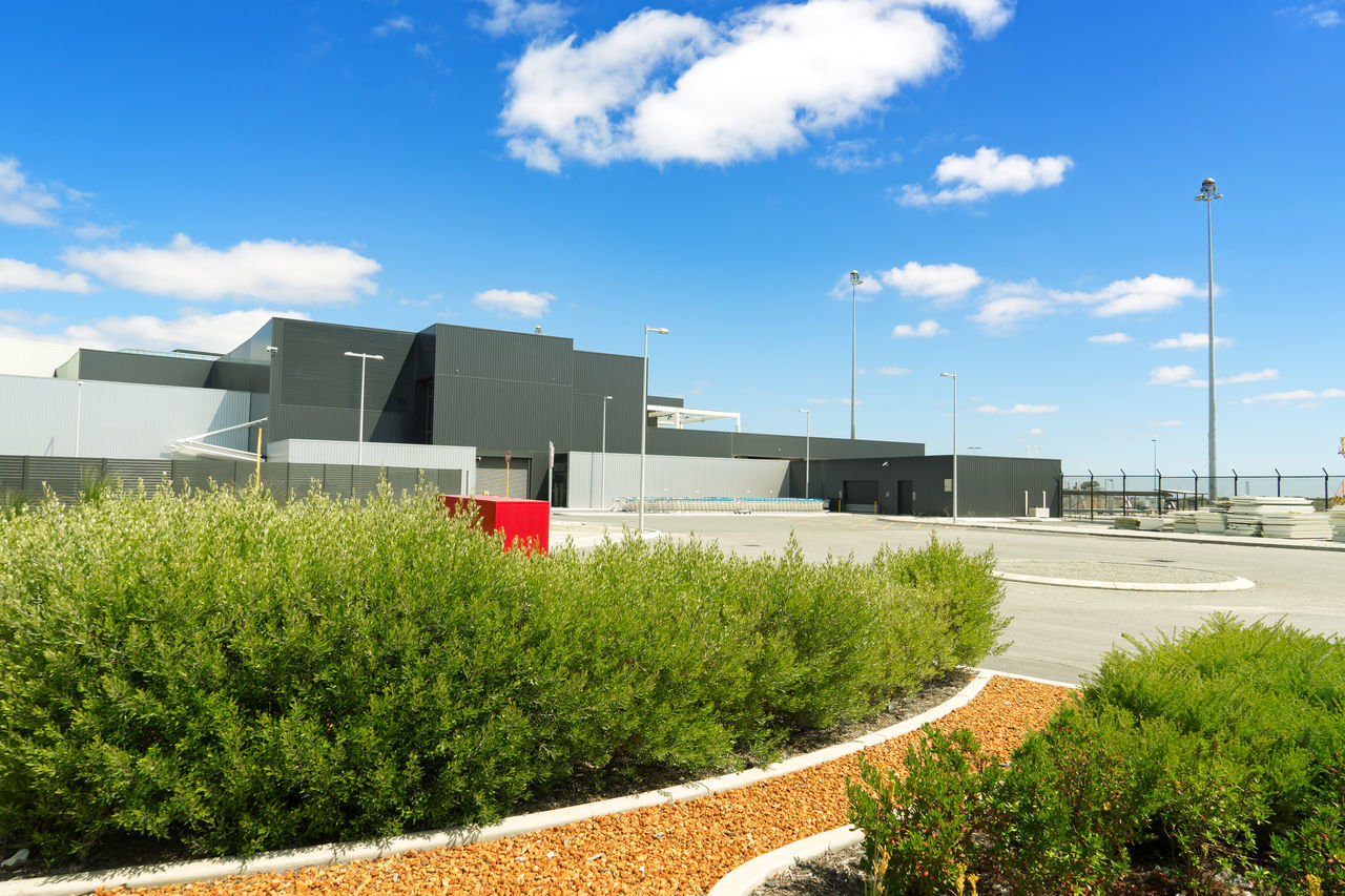 Modern exterior at perth airport area. Perth Airport is a domestic and international airport serving Perth, the capital and largest city of Western Australia. Architecture Australia Blue Sky Building Exterior Exterior Outdoors White Clouds