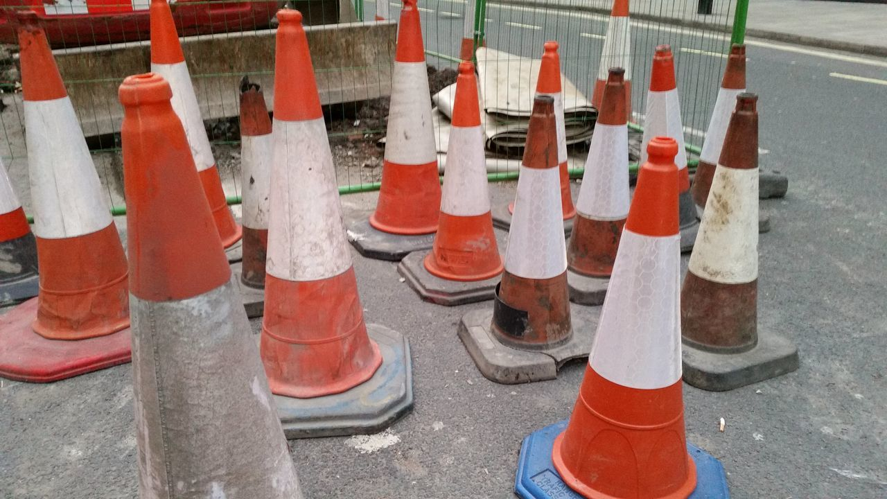 Day Multi Colored No People Orange Color Outdoors Roadworks Traffic Cones