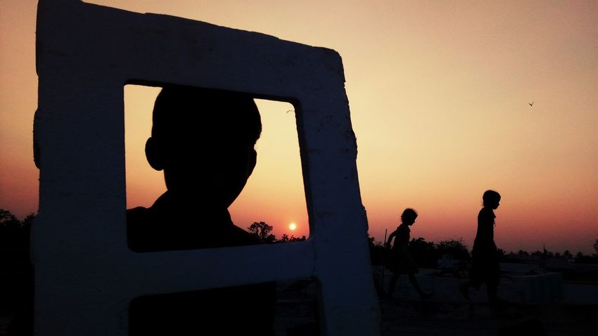 Silhouette Orange Color Sunset People Adult Night Men Real People Outdoors Adults Only Sky Only Men Astronomy EyeEm Ready