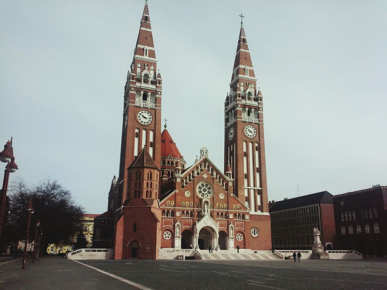 Szeged Hungary Dome Of Szeged Beautiful Architecture Sunday Dóm Tér Trip Photo No Cloud In The Sky Votive Church Church Dome Square