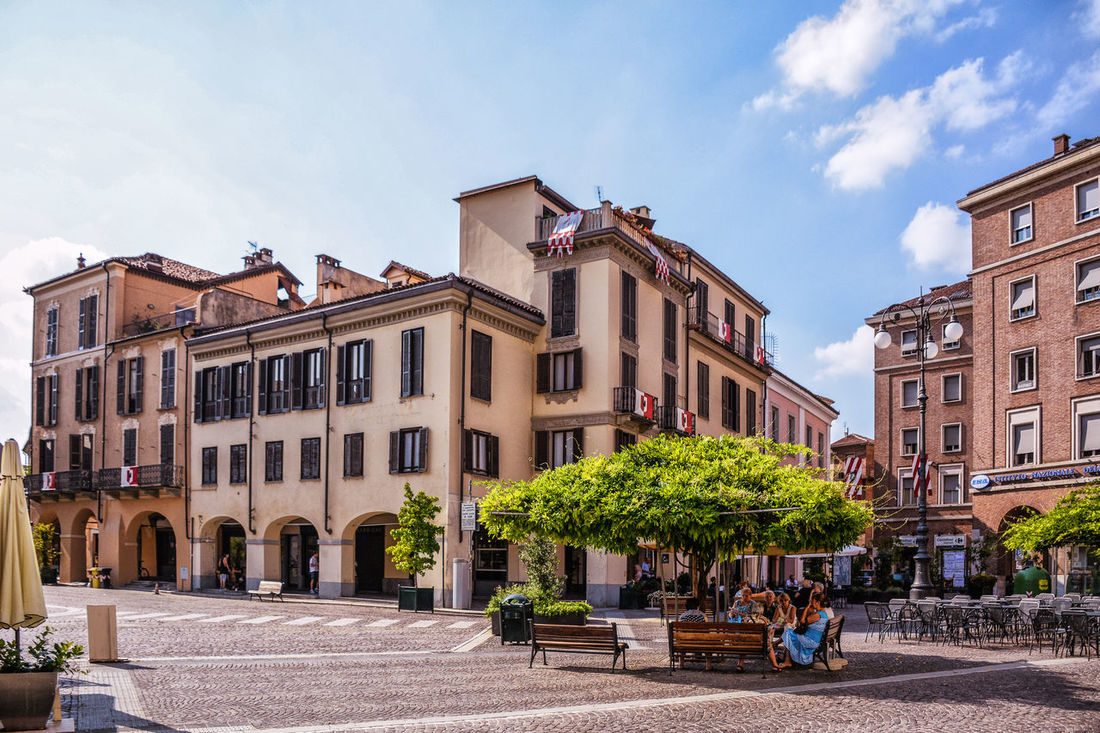 Architecture Asti Asti Italy Building Building Exterior Built Structure Center Central Square City Cloud - Sky Day Incidental People Italy Outdoors Real People Road Sky Street Streetphotography Tree
