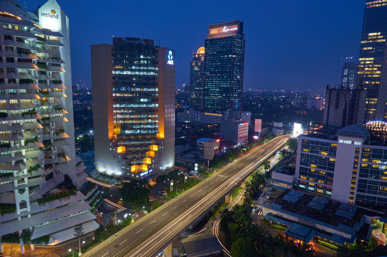 Business District Architecture Bluehourphotography Building Exterior Built Structure Business Business Finance And Industry City Cityscape High Angle View Illuminated Jakarta Indonesia JakartaStreet Modern Night No People Outdoors Road Sky Skyscraper Urban Skyline