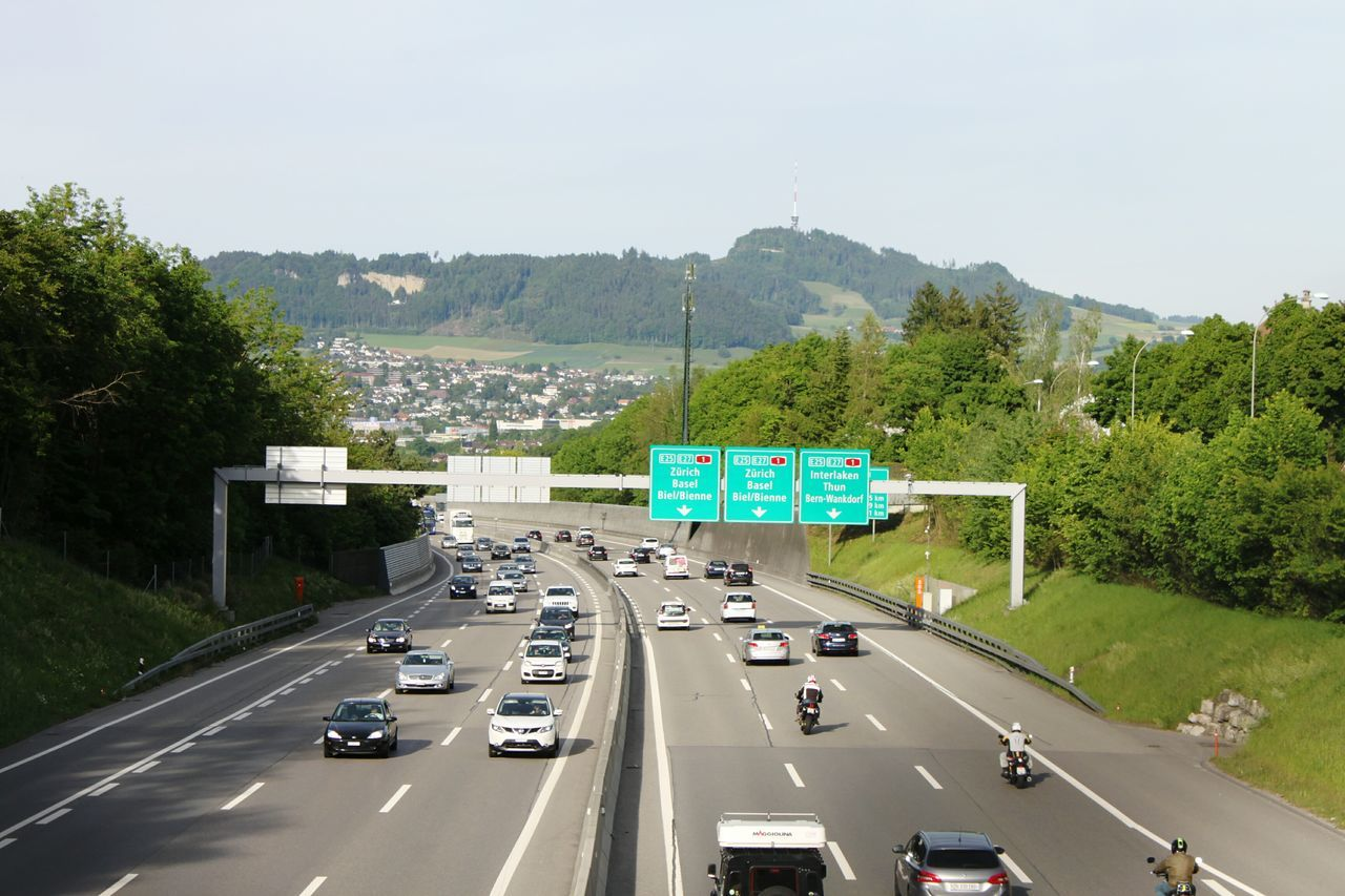 Highway Transportation Bern, Switzerland HJB Bridge Outdoors Transportation Road Car Tree Cars Way To Go Traffic Traffic Signs