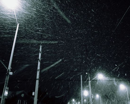 snowing outside Night Illuminated Star - Space Weather Snow Winter Electricity  Low Angle View Long Exposure Cold Temperature Snowing Outdoors Nature Street Light No People Light Beam Sky Snowflake