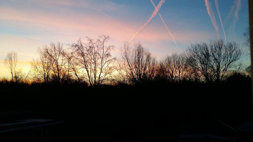 Sunrise Clouds And Sky Aeroplane Silouette