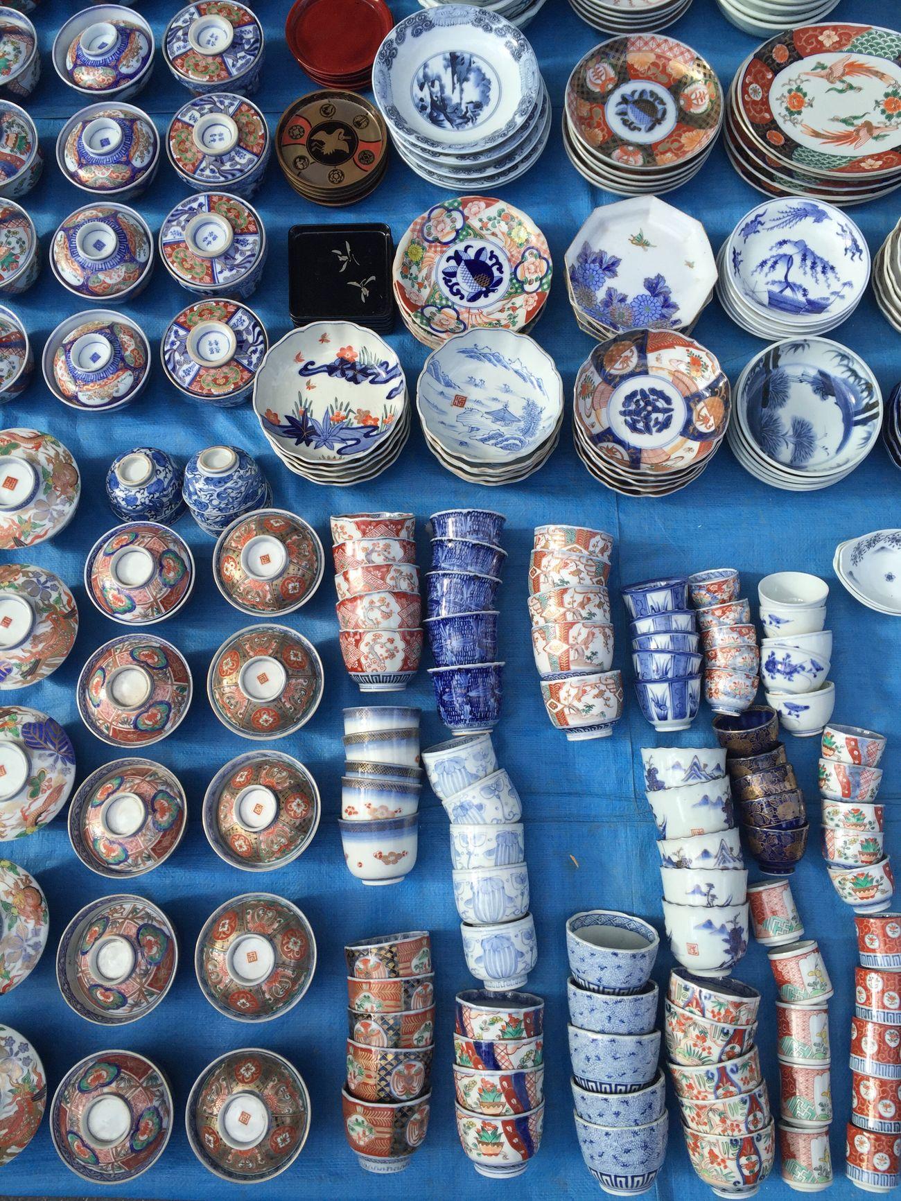 Fleamarket Flea Markets Kyoto Pottery Art Tradition White Pattern For Sale Taking Pictures Hello World