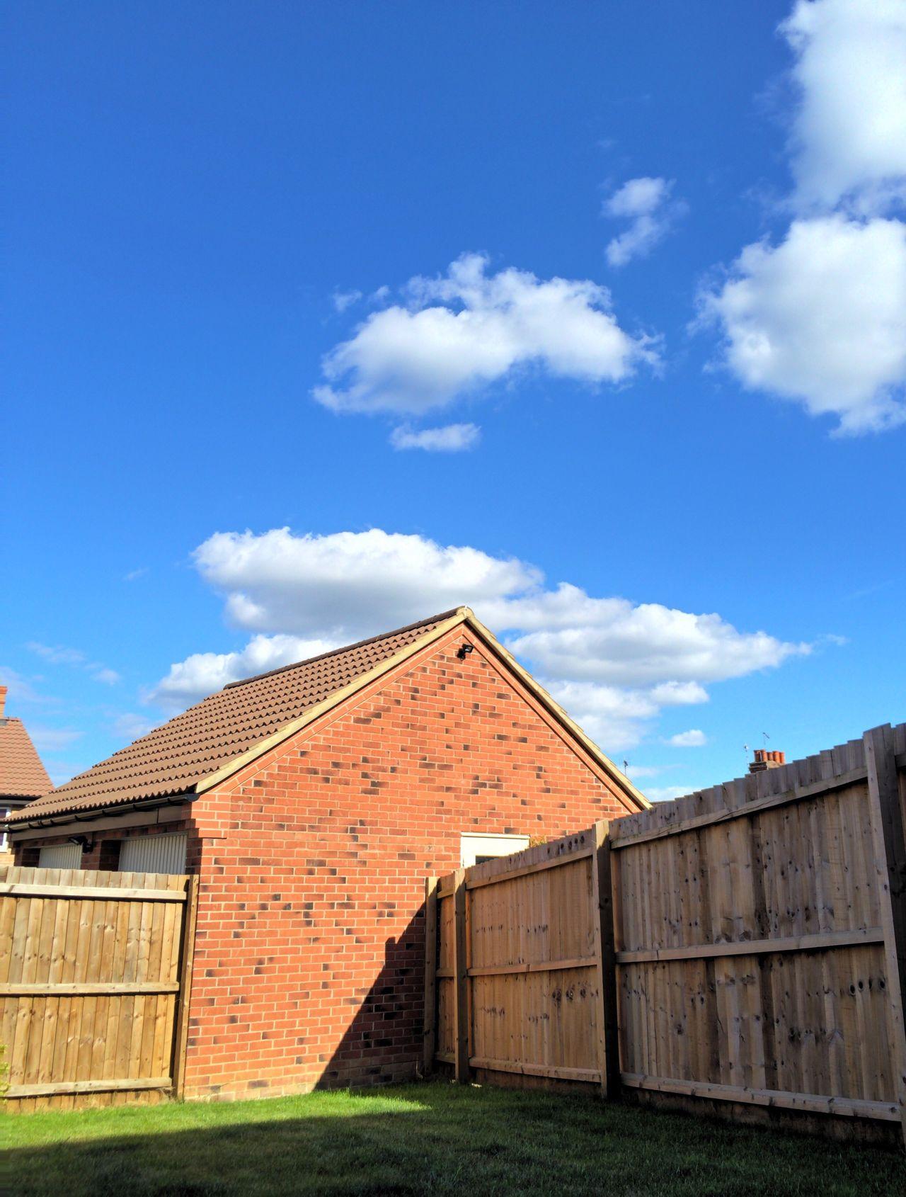 Ideal Fresh Clean New Garden Garage Wood Fence Green Grass Blue Sky Clouds