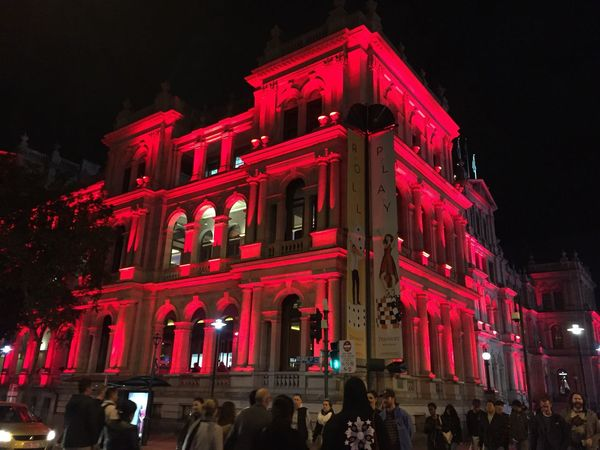 Brisbane City Lights Illuminated Red Architecture Building Exterior Low Angle View