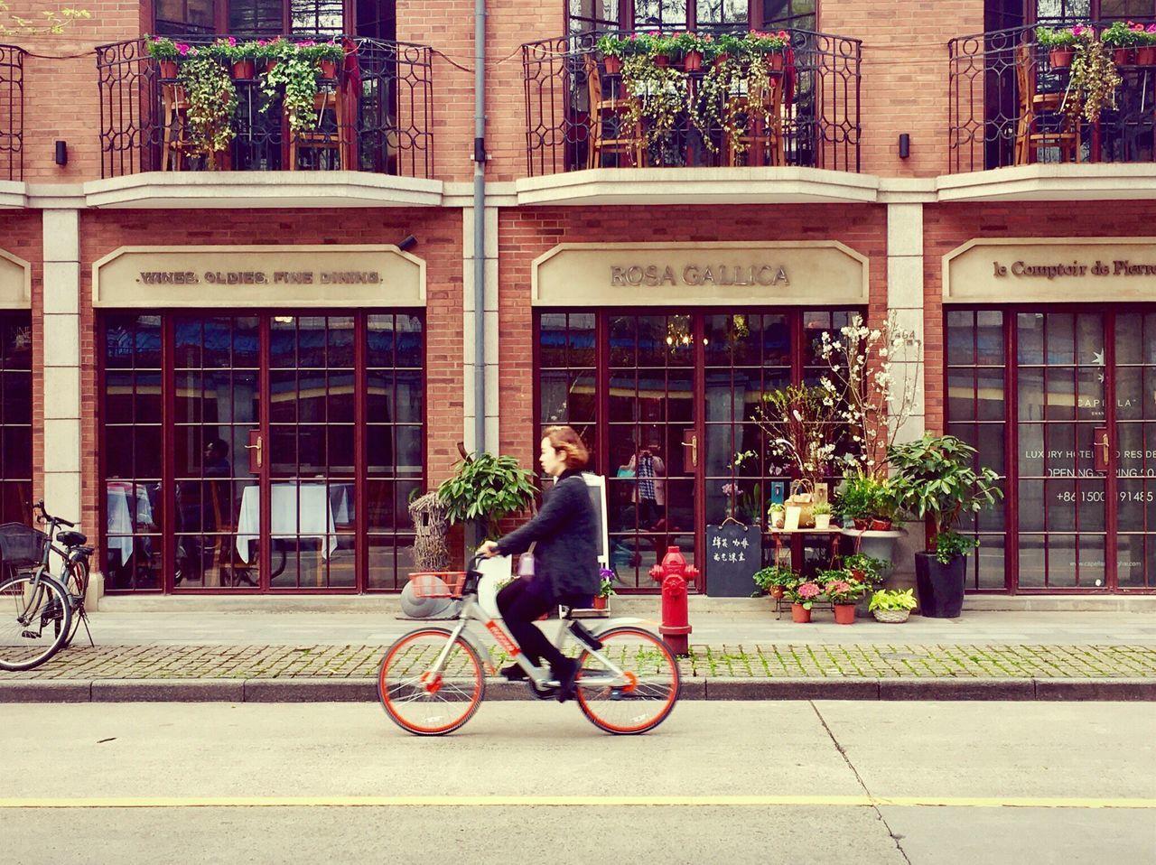 Pretty Girl Street Enjoy Life Old Street New Buildings Bicycle Relaxing Weekend