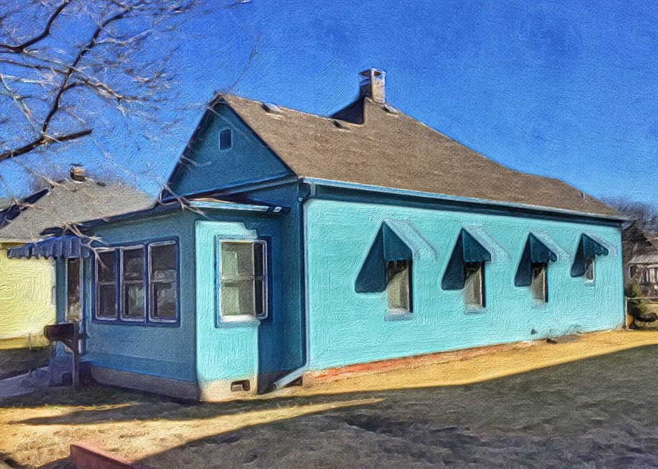 BLUE on BLUE ~ Saint Joseph, Missouri ~ Blue Building Exterior Built Structure Architecture No People Outdoors Day Tree Sky (null)Relicsofthepast Frozen In Time Kcac Artist Urban Exploration Walker Evans Missouriphotography Cityscape Street Views Cloud - Sky Awning Saint Joseph