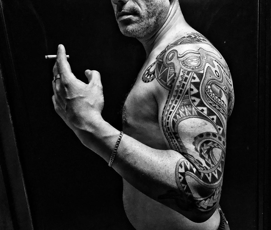 Tattoo Shirtless Black Background One Person Strength Midsection Real People Indoors  Muscular Build Men Close-up Tattooing Day Tattoos Tattooed Octopus Tattoomodels Tattoo Life Attitude Blsckandwhite Blsck And White Blsck&White Gangsters Paradise Portrait Portrait Of A Friend Resist