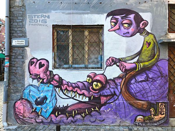 IPhone7Plus Volltoll Graffiti Art And Craft Street Art Creativity Multi Colored No People Close-up Architecture Outdoors Animal Themes Colorful Kapana, Plovdiv Art Grafitti Crocodile