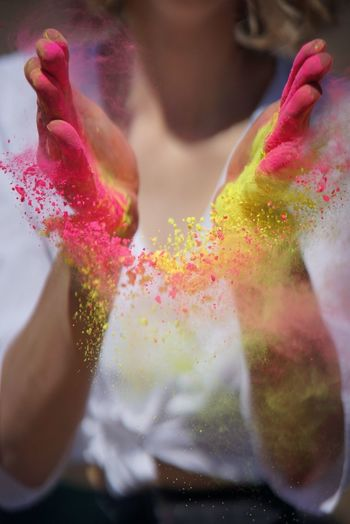 Food And Drink Celebration Multi Colored Real People Close-up Holi Food Powder Paint Flower One Person Indoors  Freshness Day Human Hand People