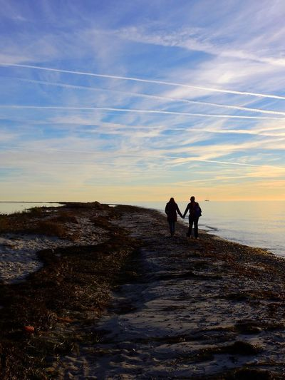 Two People Sky Real People Leisure Activity Lifestyles Nature Walking Outdoors Beauty In Nature Scenics Water Cloud - Sky Togetherness Where Two Seas Meet Måkläppen Skåne Sweden