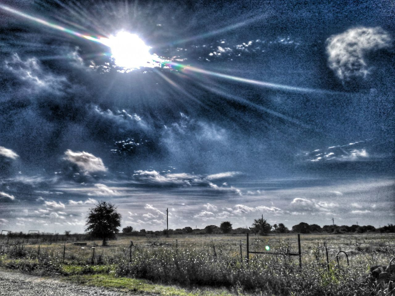 lens flare, sky, outdoors, sun, cloud - sky, no people, sunlight, nature, landscape, day, scenics, beauty in nature, tree, vapor trail