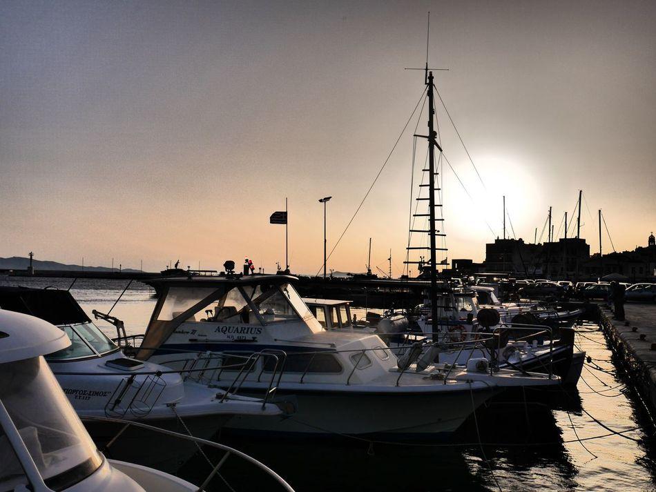Aegean Sea Boat Greek Islands Harbor Nautical Vessel Sailboat Sky Sun Sunbeam Sunlight Sunset Tinos Greece