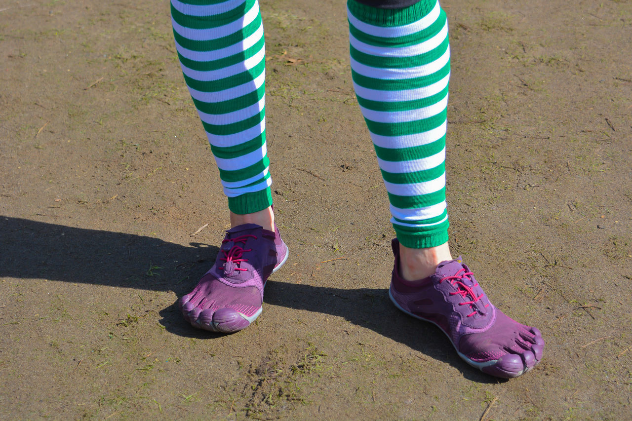 Adult Adults Only Close-up Day Feet Human Body Part Human Leg Leg Low Section One Person One Woman Only Only Women Outdoors People Sock St Patrick's Day Standing Striped Women