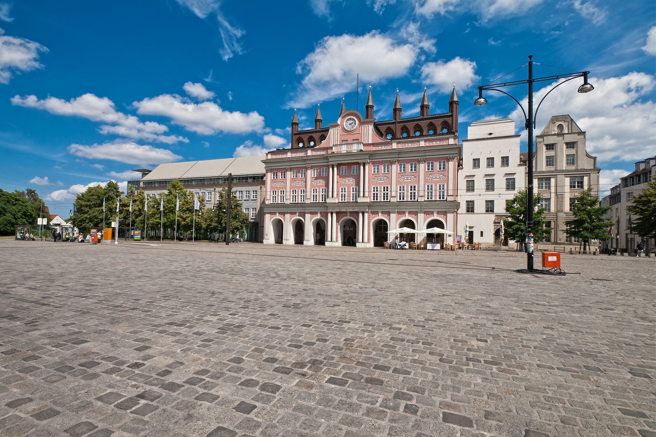 View to the town hall in Rostock, Germany. Architecture Building Exterior City City Hall Clouds Day Government History Landmark Lantern Neuer Markt No People Outdoors Place Rostock Sky Town Travel Destinations