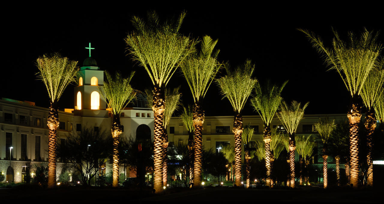 Mercy Gilbert Medical Center in Gilbert Arizona. Hospital Medical Care Medical Center Cross Palm Trees Night Night Photography Lights Building Building Exterior Darkness And Light Dark Sky Dome God Religious  Religious Architecture Architecture Steeple Gilbert, Arizona Arizona