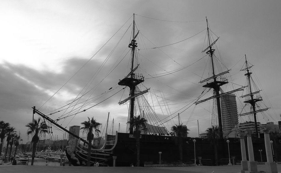 Sky Ship Pirateship  Alicante Port Sea And Sky Sea Blackandwhite Black & White Summer