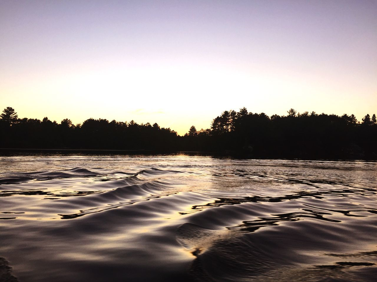 Waves Pattern Smooth Water Trees Background Lake River