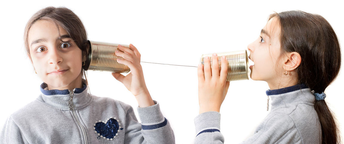 little girl playing on the phone built with the jar Astonishment Child Communication Concept Expression Listen Phone Play Speak Talk Talking Telephone Tin Toy