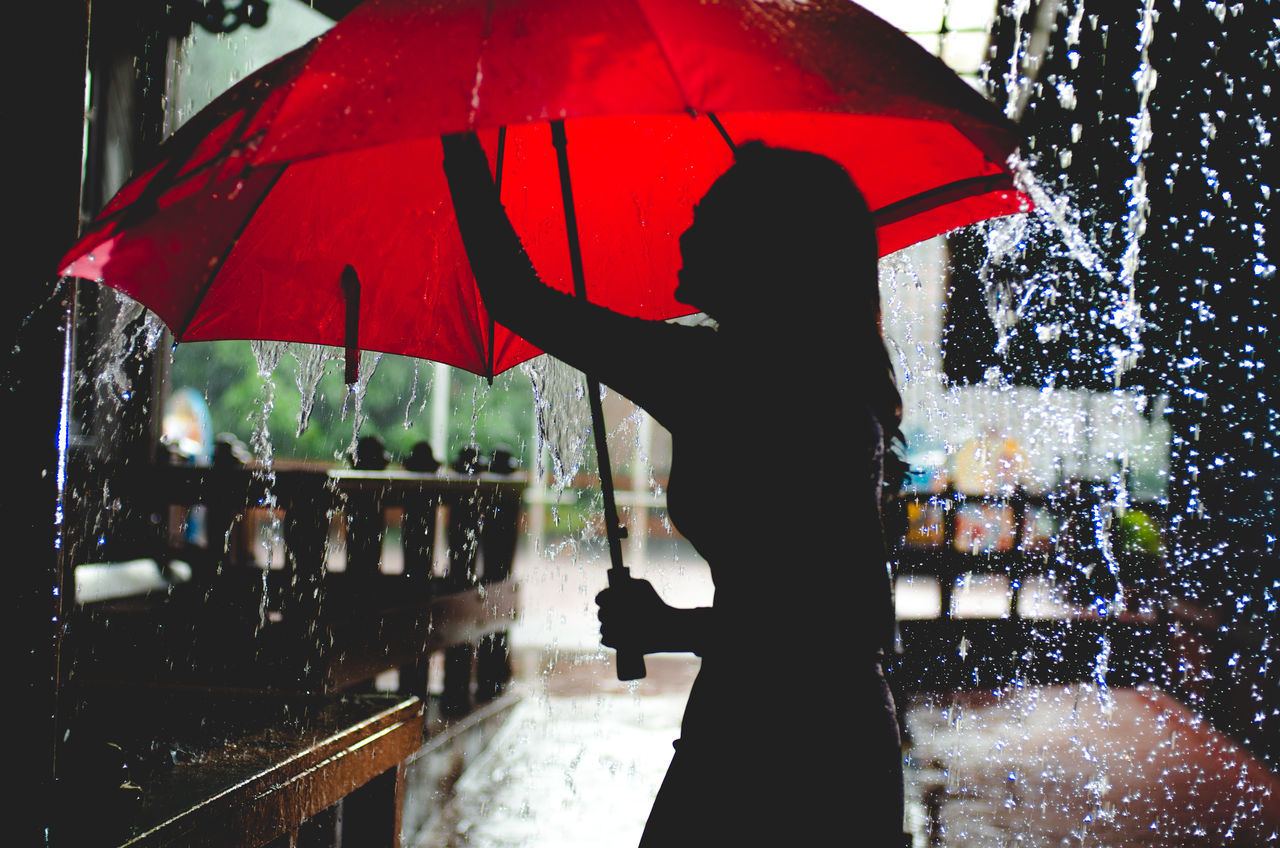 Adult Adults Only Holding Night One Person One Women Only Only Women Outdoors People Protection Rain Rainfall Rainy Season Real People Rear View Red Standing Weather