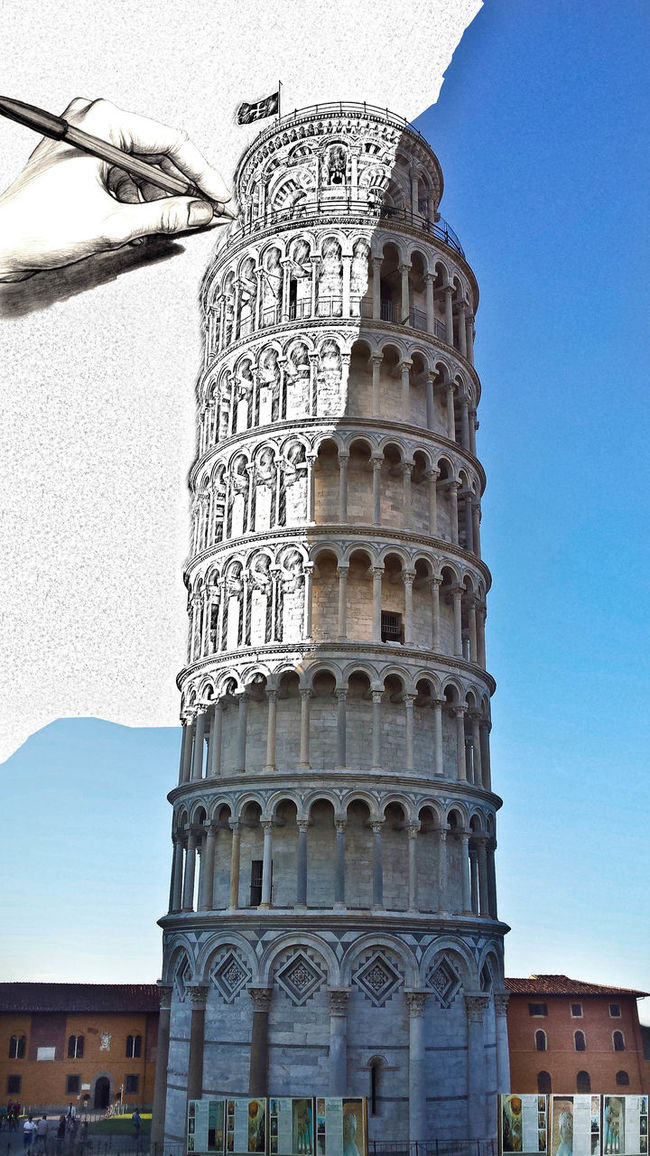 Artistic Photographic processing of famous Leaning Tower of Pisa!!!! The Leaning Tower of Pisa (Italian: Torre pendente di Pisa) or simply the Tower of Pisa (Torre di Pisa is the campanile, or freestanding bell tower, of the cathedral of the Italian city of Pisa, known worldwide for its unintended tilt. Architecture Arte Culture Day Eye4photography  EyeEm Best Edits EyeEm Best Shots EyeEm Gallery Famous Place Historic History Italy Leaning Old Outdoors Painting Photo Photograph Piazza Dei Miracoli Pisa Pisa Tower Showcase: February The Past The Week Of Eyeem Torre Di Pisa