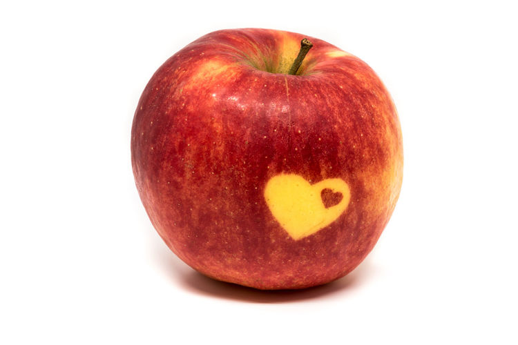 Ripe apple with two heart symbols applied to it Apple Love Red Apple - Fruit Close-up Cut Out Day Food Food And Drink Freshness Fruit Healthy Eating Heart Heart Shape Love Vitamins Love ♥ No People Red Ripe Apple Studio Shot White Background