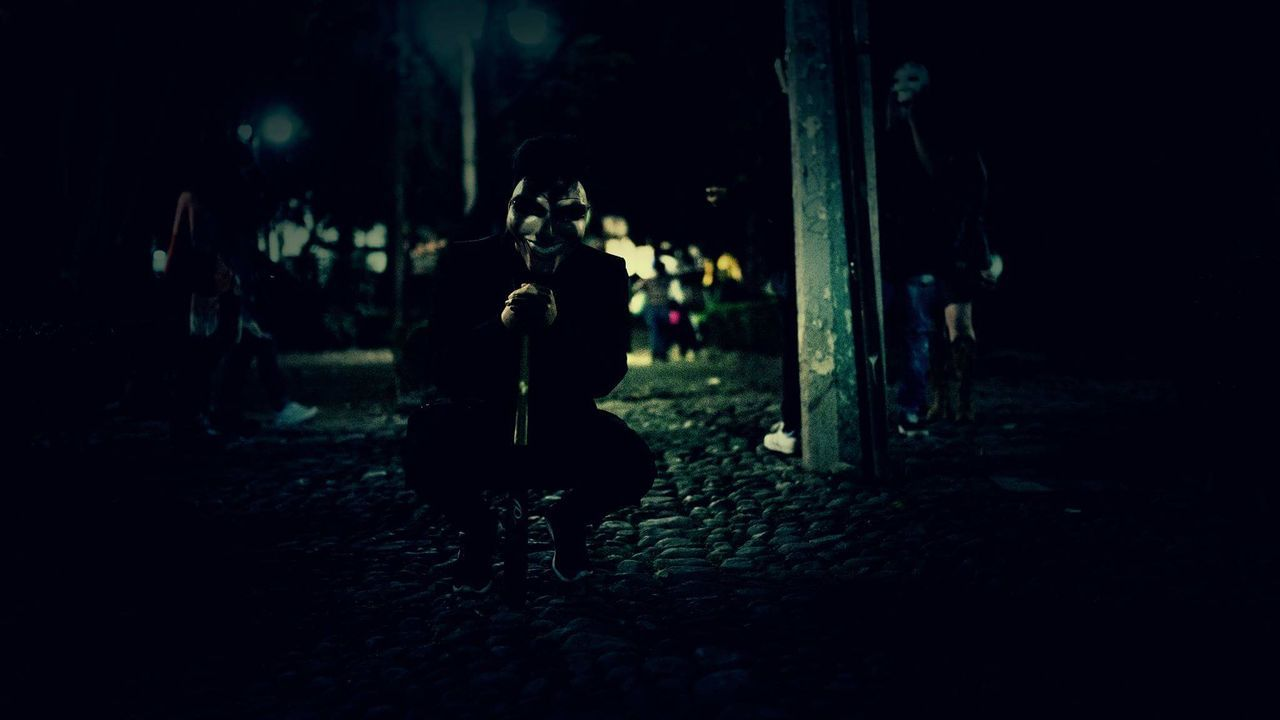 Fear... Night People Light And Shadow Photographer Streetphotography Fear Evil Outdoors Contrast Perspective Mexico Diademuertos Dark Gameoftones Way2ill Shoot2kill TheCreatorClass