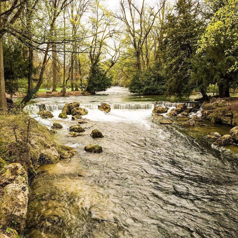 Spring in Munich München Munich Englischergarten Spring River Isar
