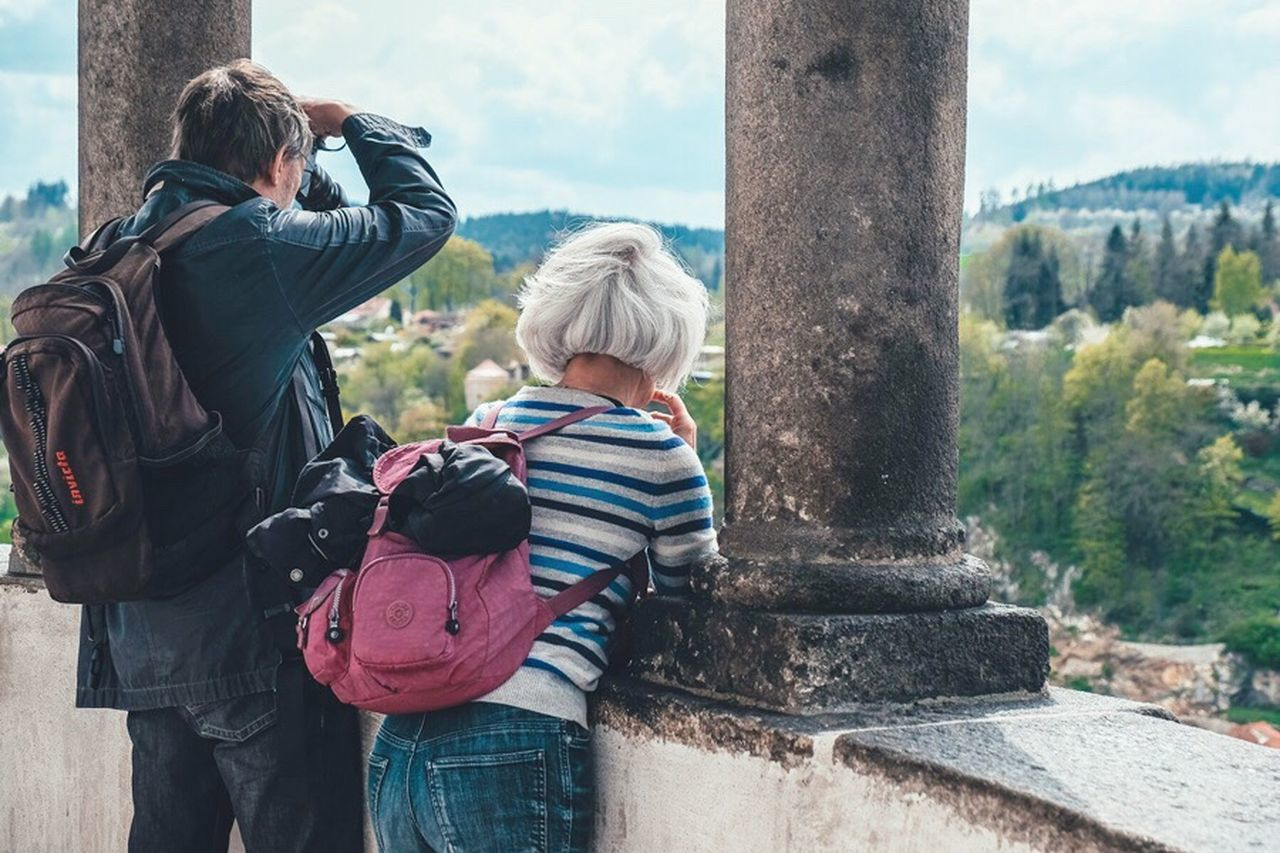 Mr. And Mrs. Togetherness Real People Backpack Rear View Day Leisure Activity Bonding Casual Clothing Women Outdoors Lifestyles Standing Nature Tree Camera - Photographic Equipment Travel The Street Photographer - 2017 EyeEm Awards Place Of Heart Observatory