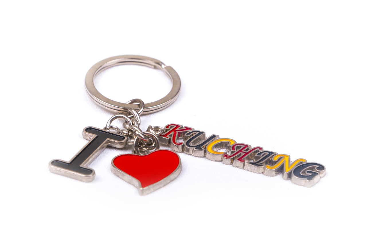 I love Kuching, Sarawak keychain souvenir on a white background ASIA Collection Destination Enjoy Gift Holiday Journey Key Chain Kuching Kuching, Sarawak Malaysia Sarawak Souvenir Tour Tourism Travel Trip Vacation Visit White Background