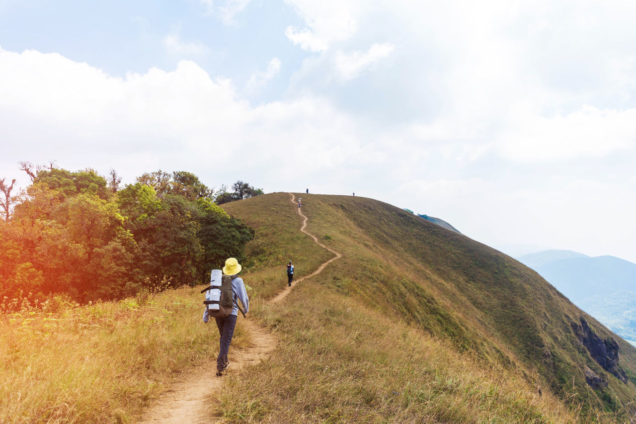 Adult Adults Only Adventure Beauty In Nature Bonding Cloud - Sky Day Full Length Grass Healthy Lifestyle Hiking Idyllic Landscape Leisure Activity Nature Outdoors People Rear View Rural Scene The Way Forward Togetherness Two People Vacations Walking Young Adult