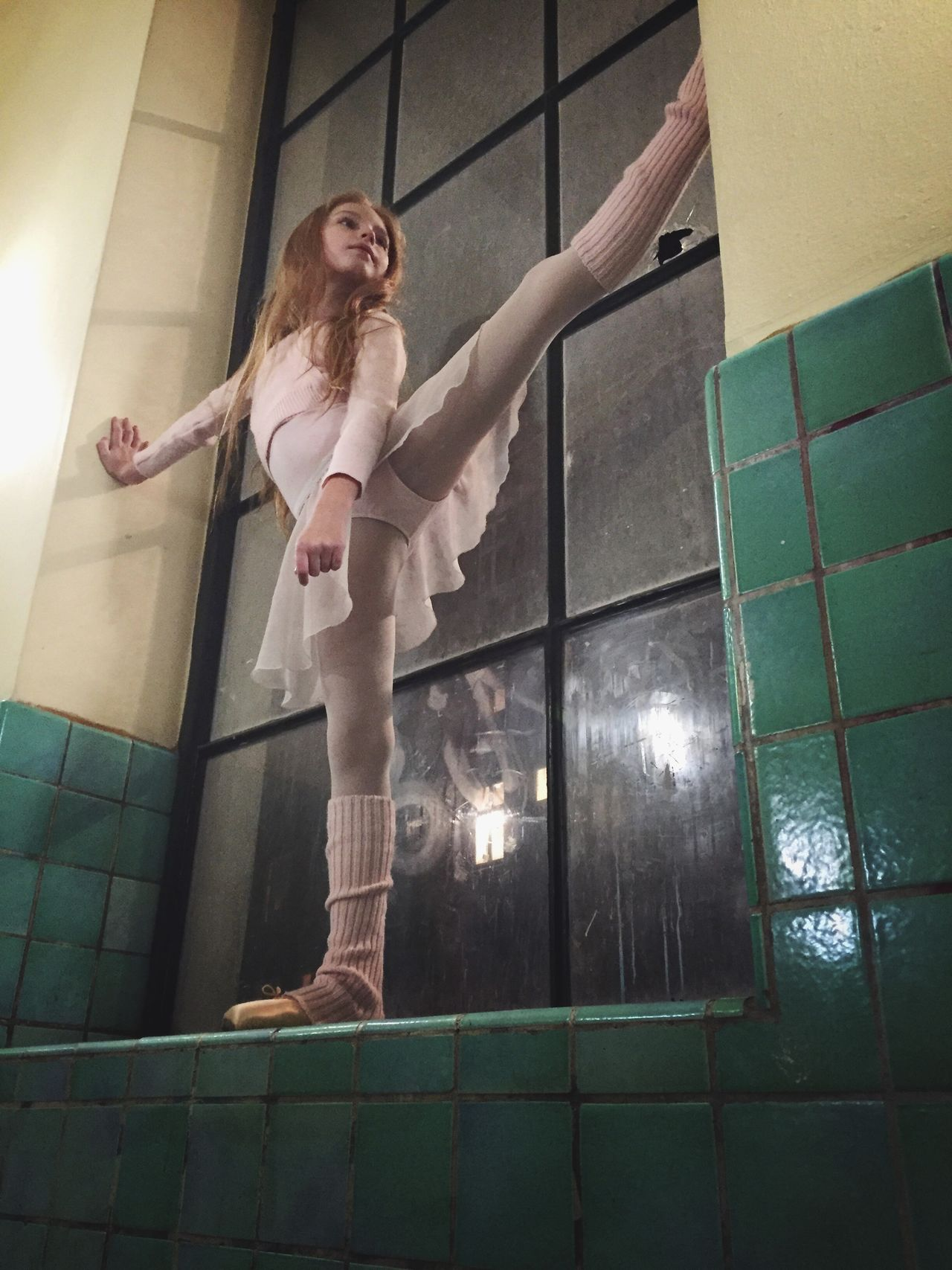 Full Length Real People One Person Standing Leisure Activity Indoors  Childhood Day People Girl Ballerina Ballet Dancer Iphone6 Looking Away Beauty Long Hair Indoors  Night Vintage light and reflection Childhood
