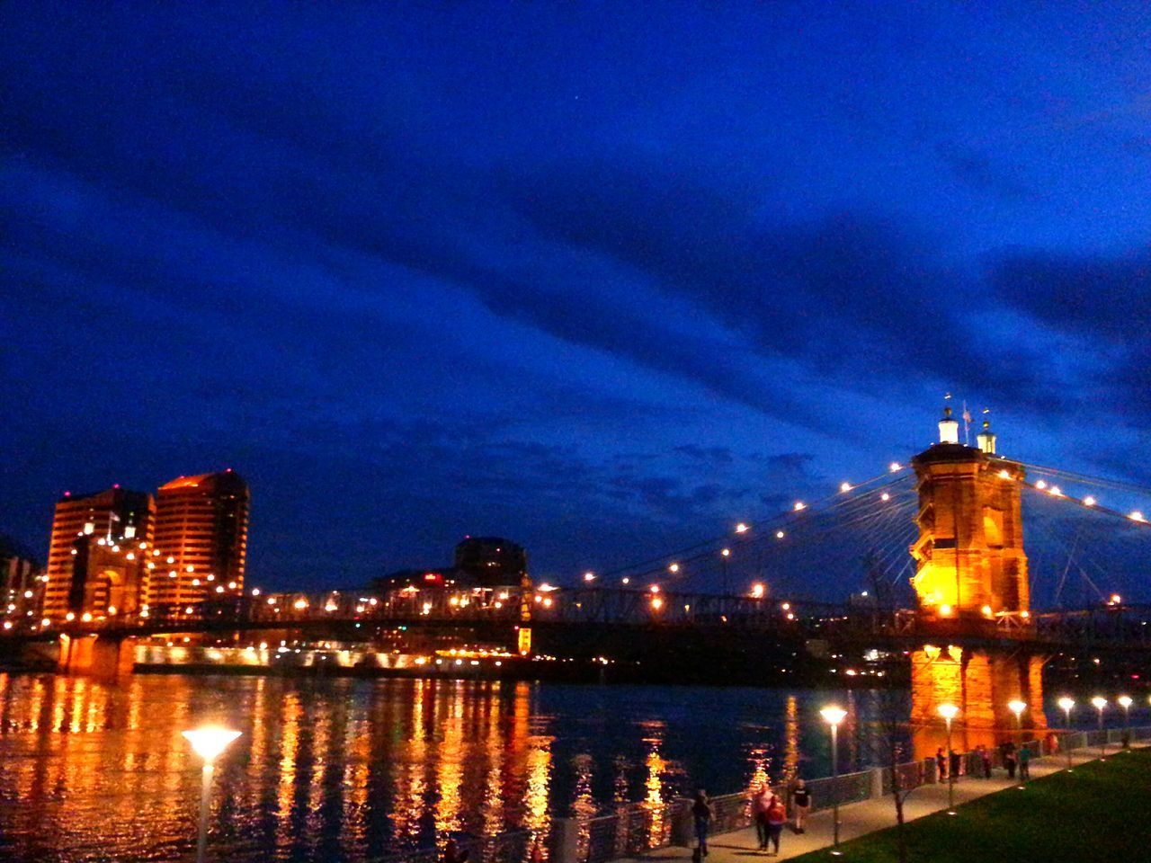 Low Angle View Of John A Roebling Suspension Bridge Over Ohio River At Night