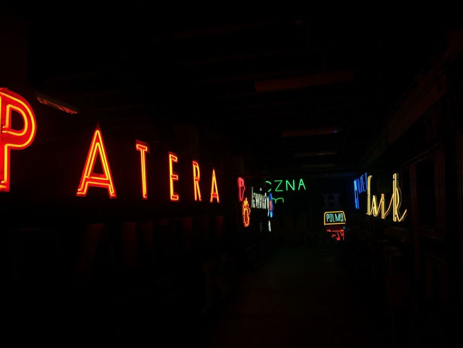 Illuminated Text Night Communication Lighting Equipment Indoors  Guidance Neon The Way Forward Architecture No People Road Sign Light Sign Art Museum Neon Museum