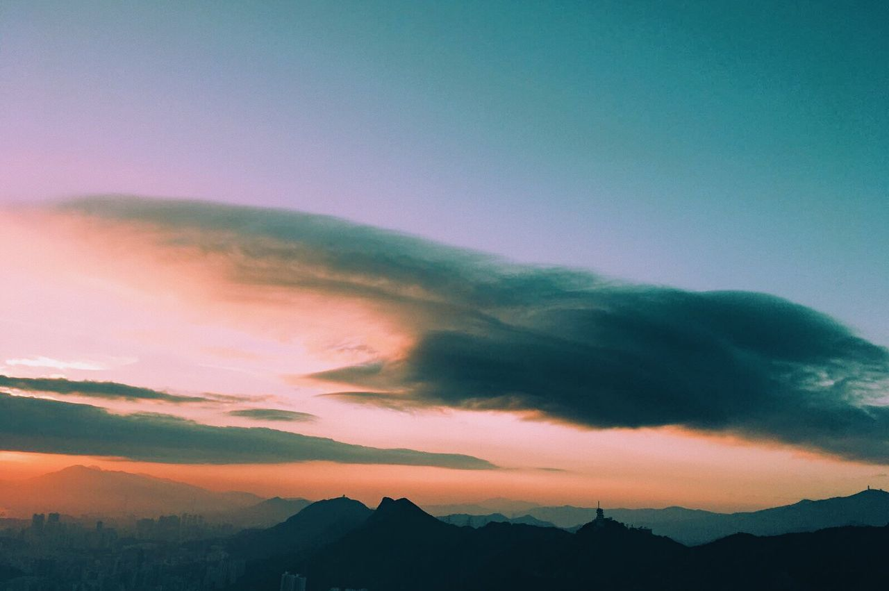 Mountain Scenics Beauty In Nature Nature Sky Cloud - Sky Sunset Tranquil Scene Tranquility Outdoors No People Dramatic Sky Landscape Day Aurora Polaris HongKong Hiking Advanture
